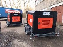 Передвижная электростанция 10 кВт на прицепном устройстве в шумозащитном кожухе (генератор на прицепе)