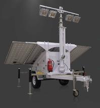 Уличное освещение комплекс быстрого развертывания с 4 фонарями солнечными модулями на автомобильном прицепе