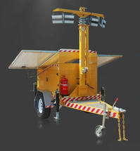 Автономный фонарь на телескопической мачте с солнечной электростанцией на автомобильном прицепе