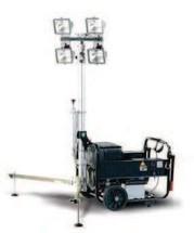 HAL-H3,2 4.6-4 телескопическая трехсекционная осветительная мачта на раме дизель-генератора (световая мачта)