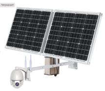 Автономная камера видеонаблюдения на солнечных батареях (панелях) поворотная на кронштейне готовый комплект видеонаблюдения